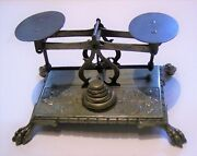 Beautiful Brass Small Antique Desk Top Balance Scale Complete Set 5 Weights