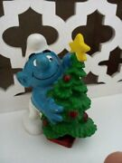 Smurf With Christmas Tree, 1981 Peyo Schleich Made In Portugal