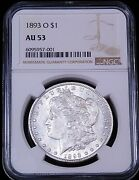 1893-o Morgan Silver Dollar Ngc Au53 White Just Conserved And Graded By Ngc Ge756
