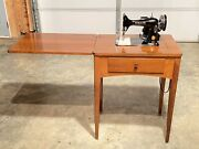 Vintage Built In Singer Sewing Machine In Wooden Cabinet Model 99 W/attachments