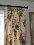 """Yellow Floral Pinch Pleat Curtain Drapes - Custom, Lined, Weighted 96"""" L 2"""