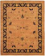 Vintage Hand-knotted Carpet 8and0391 X 9and03910 Traditional Geometric Wool Area Rug