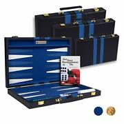 Top Backgammon Set - 11 Travel Size Classic Board Game Case - Best Small Blue