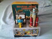 1950s Two Stage Rocket Launching Pad Nomura Tn - Tin Toy Japan Space Robot + Box