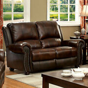 Top Grain Leather Match Sofa And Loveseat Brown 2p Sofa Set Cushion Couch