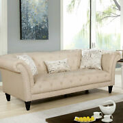 Sofa Loveseat Chair 3pc Set Living Room Furniture Beige Tufted Linen Solidwood