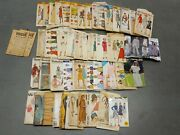 Vtg Lot Of 47 Sewing Patterns 40s 50s Mail Order Mccalls Simplicity Butterick