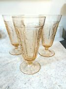 Lot 3 Pink Sharon Cabbage Rose Footed Tea Tumbler, Depression Glass, Federal