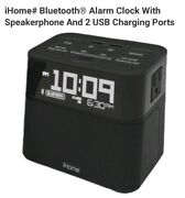 Ihome Bluetooth Alarm Clock With Speakerphone And 2 Usb Charging Ports