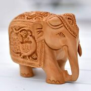 Hand Curved 3″ Tall Elephant Statue, Wooden Elephant Figurines/bring You Better