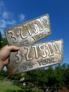 1953 Tennessee License Plates Metal Matching Pair Vintage State Shaped Tags Raw