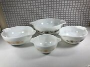 Pyrex Town And Country Cross Stitch Cinderella Mixing Bowls Set 441 442 443 444