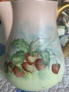 Stunning Antique Limoges Hand Painted Strawberries Burmese Colors Milk Pitcher