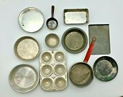 Lot Of 11 Pieces Vintage Child's Doll Metal Toy Baking Cooking Pans Pots