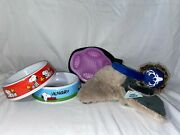 Dog Supplies Bundle- Dog Bowls Toys And Hand Brush All New
