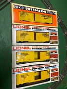 Lionel Set Of Four 6-9455 Yellow Milwaukee Road Box Cars With Original Boxes