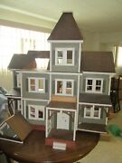 Vtg 1960's Large Hand Made Wood Dollhouse Toy Doll Victorian Farm House Antique