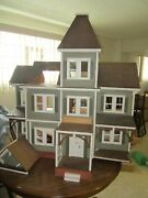 Vtg 1960and039s Large Hand Made Wood Dollhouse Toy Doll Victorian Farm House Antique