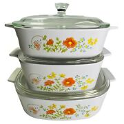 Vtg Corning Ware Wildflower Casserole Baking Dishes 6 Pc. Set With Lids