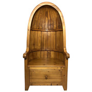 Fine English Rustic Pine Carved Porterand039s Entrance Armchair