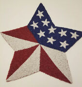 X4 Star Stripes Americana Beaded Placemat Charger Flag Red White Blue July 4 Set