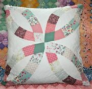 Large Throw Pillow Made From Vintage Wedding Ring Farmhouse Quilt And Chenille