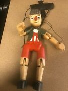 Vintage Hand Carved Wood Folk Art Pinocchio Marionette / Puppet 13 Tall