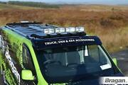 To Fit 06-14 Iveco Daily Steel Flat Roof Bar + Jumbo Led Spots + Clamps - Black