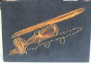 Retro Copper Wire And Nail Art On Black Velvet  Airplane Wall Art