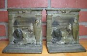 Egyptian Revival Mummy Tomb Sphynx Man Camelback Pyramid Antique Judd Bookends