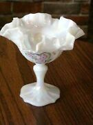 Vintage Fenton Stemmed Dish Carnival Glass Hand Made And Hand Painted Usa Art Glas