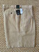Nwt Jos A Bank Travelers Collection Mens Linen Pleated Shorts Khaki 42