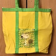 Vintage Peanuts Snoopy Pro Tennis Tote Bag Yellow Green Fabric Canvas And Vinyl