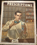Apothecary Vintage Pharmacy Pharmacist Original Store Sign Ad Gouache Painting