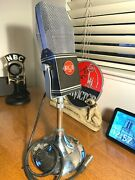 Custom Vintage 1940's Rca Type Ribbon Microphone Working W/rca Stand And Cable