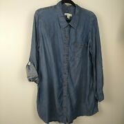 Coldwater Creek Lyocell Button Up Chambray Long Sleeve Shirt Size 2x Plus Size
