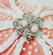14k White Gold Vintage Brooches/pin/pendant With Diamonds And Opals