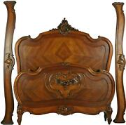 Antique Bed Louis Xv French Rococo Full Walnut With Burl Carved Year 1900