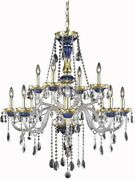 Alexandria Chandelier Traditional Antique Large 12-light Blue 60w