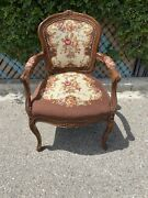 Vintage French Louis Xv Embroidery Seat Bergere Fauteuil Arm Chair - Gorgeous