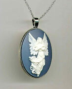 Sale Antique Silver Guardian Angel Ivory Wings Sky Blue Cameo Pendant Necklace