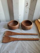 Old Antique Primitive Wooden Wood Plates Meal Bowls Dish Cups Rustic Utensils