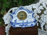 Early 1900s Delft Art Deco, Nouveau Hand Painted Mantel Clock Newhaven Usa Works