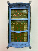 Vintage 1940s Minature Dollhouse Marx Tin Lithograph Blue Bed W Embossed Flowers