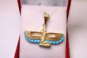 Egyptian Handmade Queen Isis Wings 18k Yellow Gold Pendant Turquoise 5.5 Gr