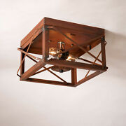 2 Bulb Flush Mount Double Ceiling Light With Folded Bars In Rustic Tin Primitive