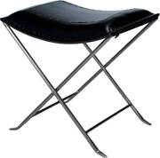 Stool Silver Metal Black Distressed Leather Iron Tabacco Bronze