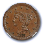 1856 Braided Hair Half Cent Ngc Ms 61 Bn Uncirculated C-1 Cohen One Better Date