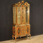 Lacquered Showcase Furniture Painted Cupboard Antique Florentine Style Vintage