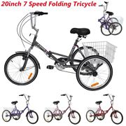 Foldable Adult Tricycle 20'' Folding Tricycle 7-speed 3 Wheel Bikes With Basket